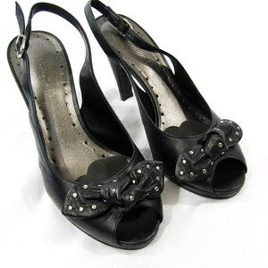 Black Leather Silver-Studded-Bow Slingback Heels